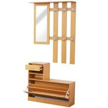 HOMCOM Hallway Furniture Set Shoes Cabinet Storage 6 Hooks Coat Rack Mirror