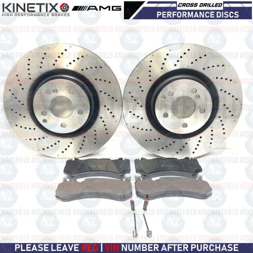 FOR MERCEDES C63 AMG FRONT CROSS DRILLED BRAKE DISCS PLATINUM PADS WIRES 360mm
