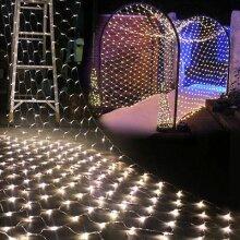 6x4M LED Curtain Window Net Mesh String Fairy Lights Waterproof Plug Xmas Lamps