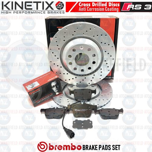FOR AUDI RS3 2015- 8V REAR DRILLED PERFORMANCE BRAKE DISCS BREMBO PADS 310mm