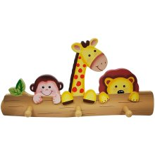 Fantasy Fields - Sunny Safari Animals themed Kids Wooden Wall Hanger Hooks | Hand Painted Details | Child Friendly Water-based Paint
