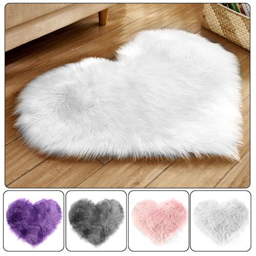 Faux Fur Bedroom Rug Mats Heart Rug