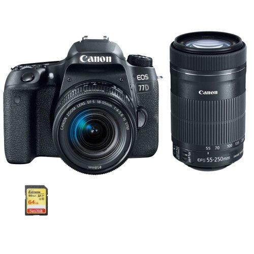 CANON 77D EF-S 18-55mm F4-5.6 IS STM+EF-S 55-250mm IS STM+64GB SD card