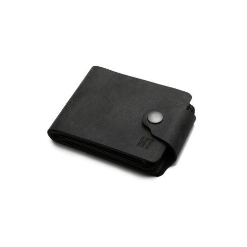 Hautton Elegant Black Leather 11 Credit Card Wallet Stud Flap