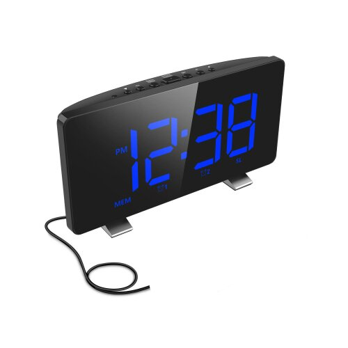 Digital Alarm Clock for Bedrooms with FM Radio Dual Alarms 6.7'' LED Screen USB Port for Charging  Automatic Dimmer Snooze Digital Clock for Kid Senio