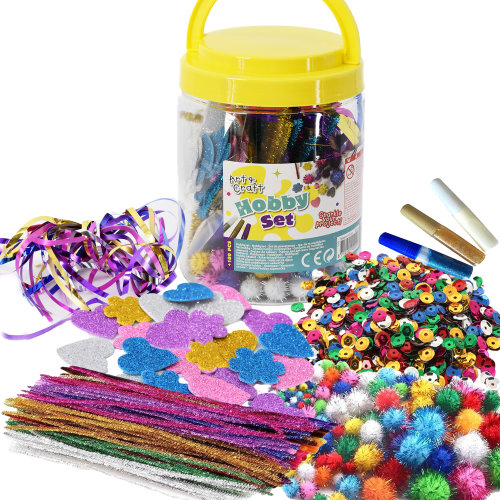 The Magic Toy Shop Kids Art & Craft Jar Mega Art Set Pom Poms Beads Paper Foam Glitter Hearts Glue