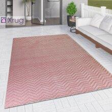 Outdoor Rug Large XL Small Dusky Pink Zig Zag  Chevron for Garden Patios Decking Gazebo Woven Soft Geometric Mat