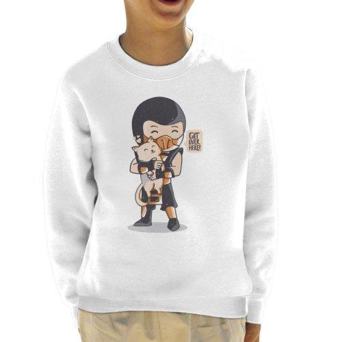 (Large (9-11 yrs), White) Cute Scorpion Get Over Here Mortal Kombat Kid's Sweatshirt