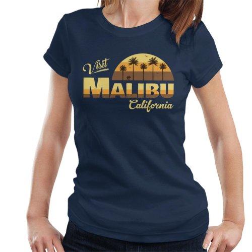(Medium, Navy Blue) Visit Malibu Retro California Women's T-Shirt