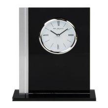 WILLIAM WIDDOP Black Glass Mantel Clock Chrome Bezel