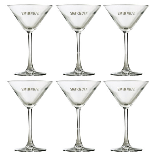 Pasabahce Smirnoff Embossed Martini Cocktail 230ml Glass Set Of 6