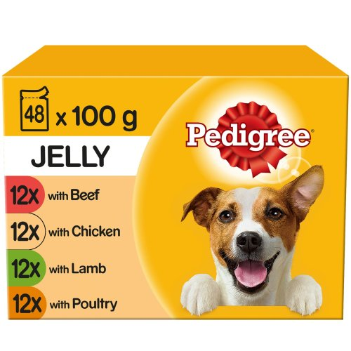 PEDIGREE Dog Pouches in Jelly 12x100g (Pack of 4)