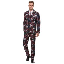 Flashy SAW suit men Black jacket with pants and tie Male costume Size