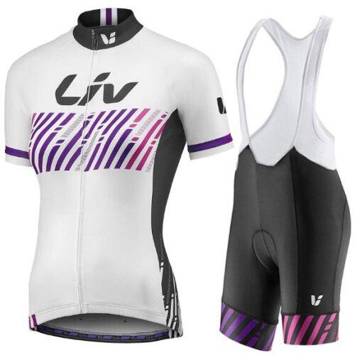 (White, XS) Liv Women's Cycling Jersey Short sleeves+Bib Shorts Set