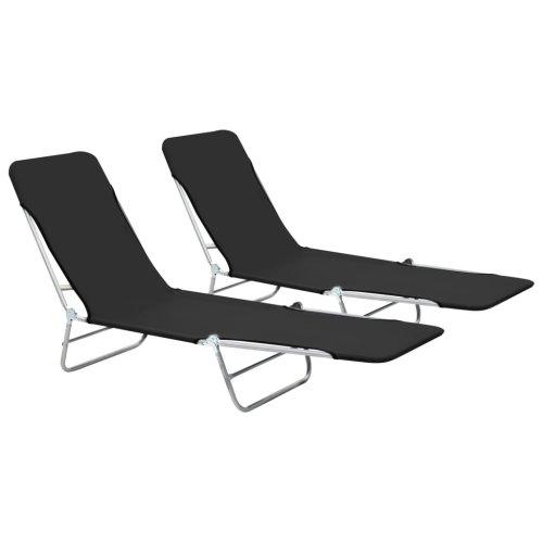 vidaXL 2x Foldable Sunloungers Black Outdoor Garden Camping Recliner Day Bed