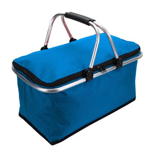 (Blue) 30L Large Insulated Folding Lunch Picnic Bag Cooler Hamper Basket Box