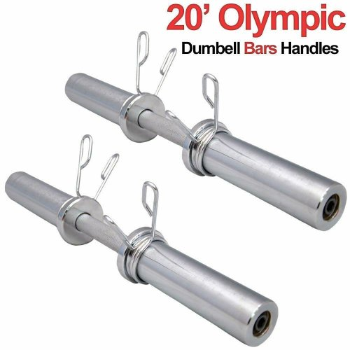 """20"""" Olympic 2"""" Dumbbell Bars & Spring Collars Set Gym Weight Lifting Handles"""
