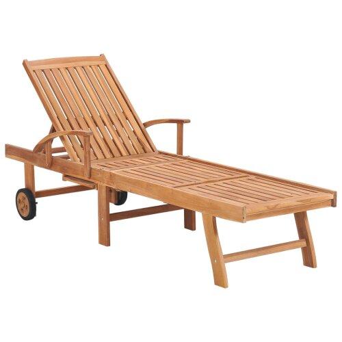 vidaXL Solid Teak Wood Sun Lounger Garden Wooden Chaise Lounge Bed Sunbed