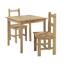 Corona Dining Table and 2 Chairs Rio Square Set Solid Pine Furniture