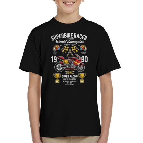 (X-Small (3-4 yrs)) Superbike Racer World Championship Kid's T-Shirt