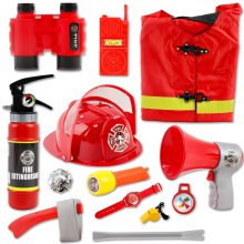 deAO Kid's Washable Fireman Costume Set & Accessories | Firefighter Dress-up