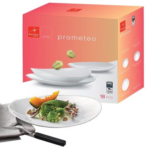 Bormioli Rocco Prometeo Opal Glass 18pc Tableware Plates Set