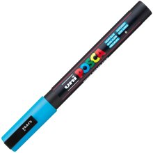 1 x Uni Posca PC-3M Paint Glass Window Marker Pen Fine Bullet Tip 1.3mm Light Blue