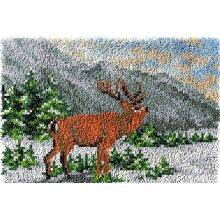 Deer in Winter Rug Latch Hooking Kit (64x48cm blank canvas)