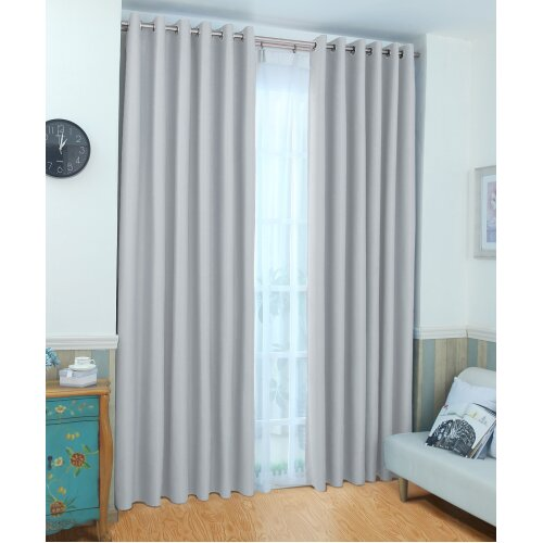 Silver 66 Wide X 54 Drop Eyelet Thermal Blackout Curtains Free Tie Backs On Onbuy