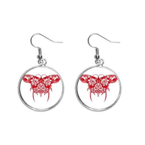 Chinese Kite Butterfly in Red Ear Dangle Silver Drop Earring Jewelry Woman
