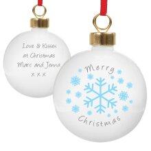 Personalised Christmas Tree Bauble - Snowflakes