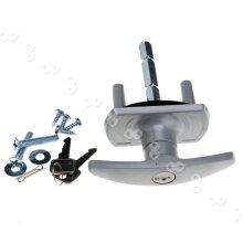 Rlacement Garage Door Lock T Handle 75mm Spindle Alignment 35mm Spigot Silver