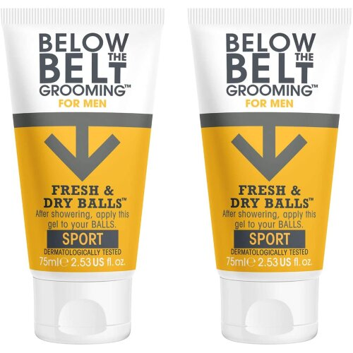 Below The Belt Grooming Fresh & Dry Balls - Intimate Deodorant For Men Balls - Protects against Sweat, Odour and Chafing - Sport Fragrance 2 x 75ml
