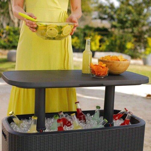 Keter 60 Litre Cool Box (63 US Quart) Bevvy Bar Cooler Party/Garden Table