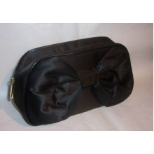 DIOR Black Satin Makeup / Clutch Bag with Bow Detail to front