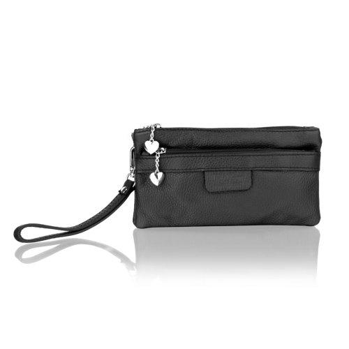 """Woodland Leather Black Small Clutch Bag 10.0"""" Adjustable Removeable Shoulder Strap"""