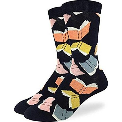 Socks - Good Luck Sock - Men's Crew Socks  - Flying Books (7-12) 1438