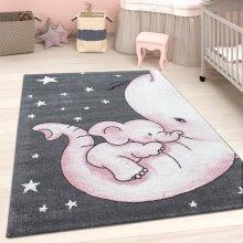 Childrens Animal Rug Grey Pink Elephant Nursery Carpet Kids Play Baby Room Mats