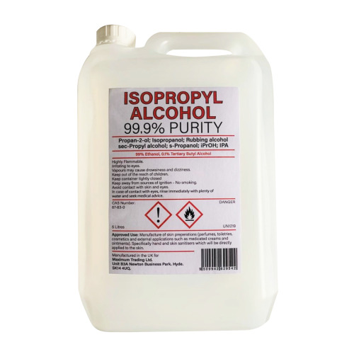 IPA Isopropyl Alcohol 99.9% Purity.  5ltr Gallon