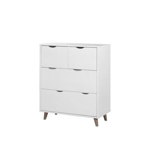 Pulford Scandi Chest 4 Drawers White Bedroom Living Room Storage  Furniture