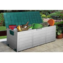 GREEN OUTDOOR GARDEN PLASTIC STORAGE SEAT UTILITY CHEST SHED BOX TOOLS
