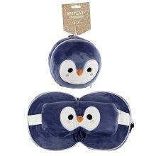 Cutiemals Penguin Relaxeazzz Plush Round Travel Pillow  and  Eye Mask Set