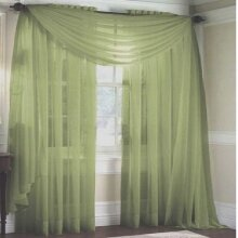 """MONAGIFTS SAGE GREEN Scarf Voile Window Panel Solid sheer valance curtains 216"""" LONG"""