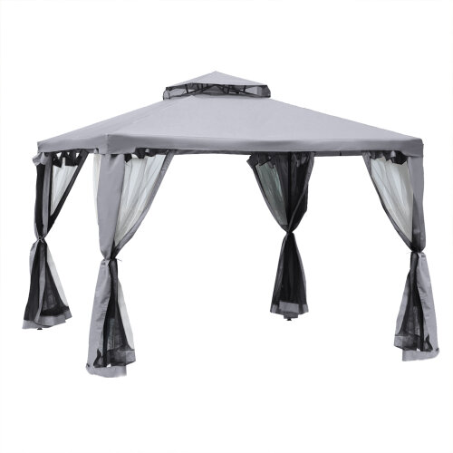 Outsunny 3 x 3 m Gazebo Garden Outdoor 2-Tier Roof Marquee Party Tent Grey