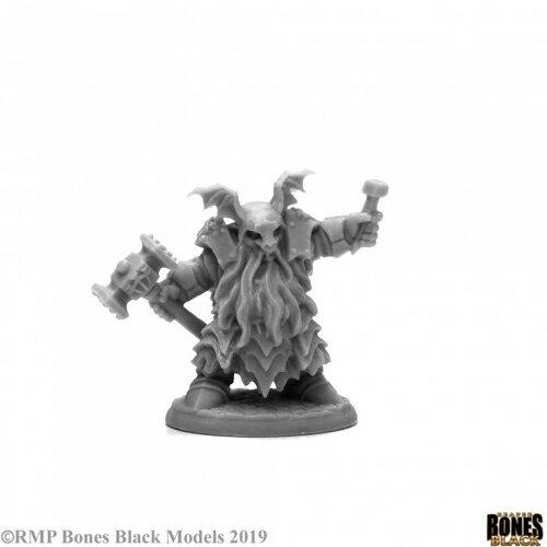 Reaper Miniatures - 44113 - Dark Dwarf Irontongue Priest - Bones Black