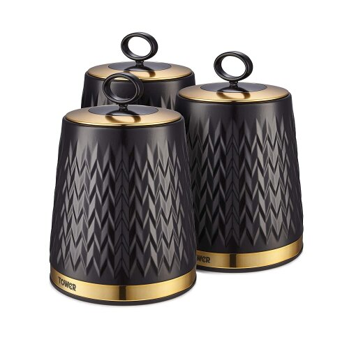 Tower T826091BLK Empire Kitchen Canisters, Tea Coffee Sugar Set, Black