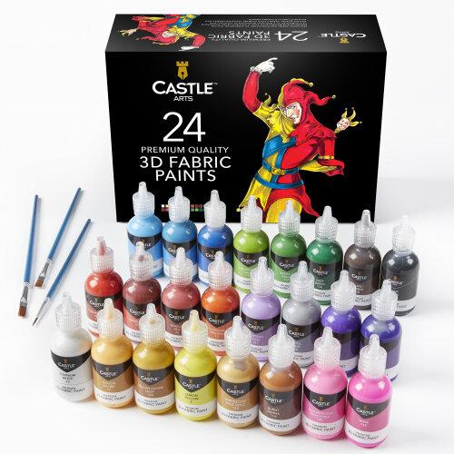 Castle Art 3D Fabric Paints Set - 26-Piece | Fabric Paints With Paintbrushes