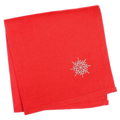 """Pack Of 4 Matching Fabric Napkins 16x16"""" For Red Snowflake Pattern Christmas Tablecloths"""