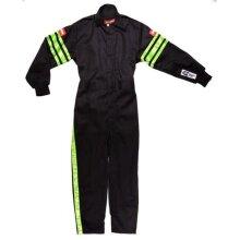 Racequip 1950793 Single Layer Kids Suit, Black & Green Trim - Medium
