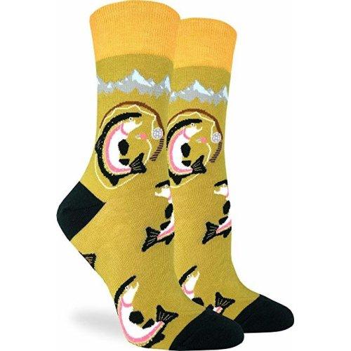 Socks - Good Luck Sock - Women's Crew Socks - Fishing for Trout (5-9) 3229